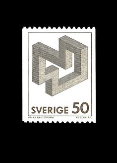 Postage from Sweden featuring an impossible shape
