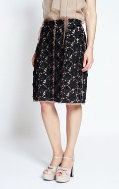 Black & Blush Lace Skirt from Lanvin