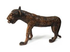 Antique African Cast Bronze Tribal Rare Ashanti Akan Spotted Leopard Sculpture