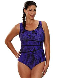 f727248c58 Introducing Aquabelle Womens Plus Size Chlorine Resistant Xtra Life Lycra  Arroyo Spliced Tank Swimsuit 22 Purple