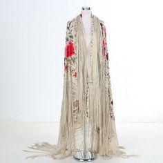 1920s Embroidered Silk Piano Shawl