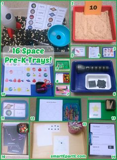 16 Space Preschool Trays! See 16 great ways to learn about outer space, including links to awesome free printables!