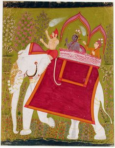 Rama and Lakshman in the howdah of an white elephant with Hanuman as mahout | by thesandiegomuseumofartcollection