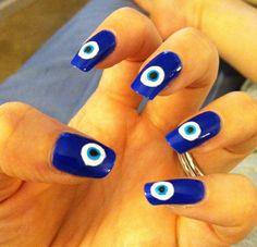 Evil eye inspired nails.