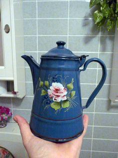 Very pretty antique blue enamelware tea set. Raised pattern of tea roses. Enamel Ware, Tea Roses, Teapots, French, Rustic, Antiques, Pretty, Pattern, Accessories