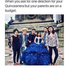 Juan dirección. Ama quiero que 1D vaya al mis quince. Ay mija ya no ay dinero mejor diles a tus primos que se pongan una peluca pa que se parezcan.