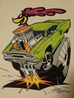 Car Drawings, Cartoon Drawings, Cartoon Art, Rat Fink, Rat Rods, Weird Cars, Cool Cars, Mopar, Caricatures