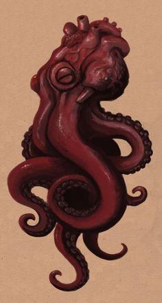 This would be my human heart AND my octopus tattoo Octopus Hearts, Le Kraken, Tatuaje Old School, Motif Art Deco, Octopus Tattoos, Oldschool, Arte Sketchbook, Tatoo Art, Human Heart