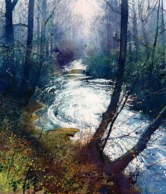 Artist Richard Thorn 'Hazy River',Watercolor