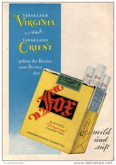 Original-Werbung/Inserat/ Anzeige 1950 - 1/1-SEITE FOX ZIGARETTEN - ca. 230 X 150 mm