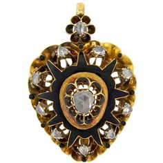 Preowned Victorian Rose Cut Diamond Gold Enameled Heart Pendant ($3,185) ❤ liked on Polyvore featuring jewelry, pendants, necklaces, red, heart locket pendant, gold heart shaped locket, heart shaped locket, gold diamond pendant and gold pendant