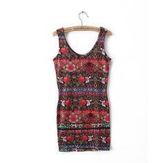 New Fashion Ladies' Elegant floral print sheath Dress sexy backless vintage O neck sleeveless casual slim brand dress