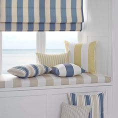 Nautical coastal beachy hamptons fabric striped fabric blind window seat cushions CLARKSVILLE