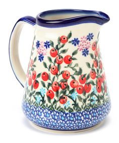 lovely rounded shape so cute Vintage cherry cherries teapot afternoon tea retro display Red cherry pattern blue-green leaves
