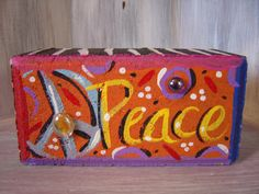 Items similar to Peace Sign Brick Whimsical Garden Art on Etsy, Painted Bricks Crafts, Brick Crafts, Painted Pavers, Painted Rocks, Hand Painted, Painting Concrete, Stone Painting, Emo, Garden Pavers