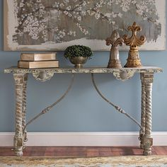 Turned Leg and Vintage Wood Console - Shades of Light Painted Furniture, Home Furniture, Furniture Design, Furniture Ideas, Buffet Console, Console Tables, Queen, Decorating Your Home, Interior Decorating