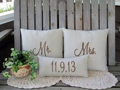 Mr & Mrs Pillow Cover Mr and Mrs Pillow Wedding by GetPersonalEtc, $58.99