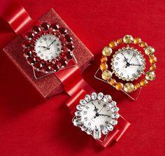Dress up a desk with Pier 1 Mini Clocks with Gems