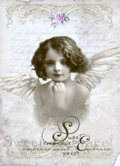 Vintage girl angel Digital collage p1022 Free for personal use <3