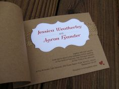 Unique Sewn Invitation with Poppy Red. 3d-memoirs - Best in Wedding Blogs