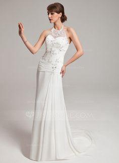 A-Line/Princess Halter Sweep Train Chiffon Tulle Wedding Dress With Ruffle Lace Beading (002011453) - JJsHouse