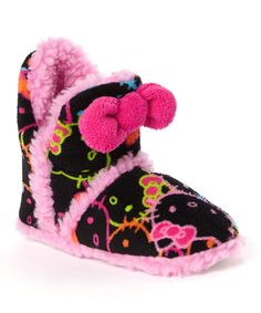 This Black & Fuchsia Hello Kitty Bow Slipper Boot - Kids is perfect! Hello Kitty House, Hello Kitty Bow, Slipper Boots, Kids Boots, Indigo, Coin Purse, Goth, Plush, Slippers