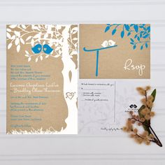 The original Custom Love Birdies Wedding invitation set. You may see similar sets out there on etsy but all were inspired by my lovely gray and..still not the right colors