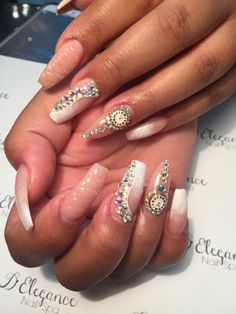 Nude nails with clocks and stones by @Gatitabuena2