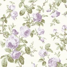 Luxury Shabby Chic Vintage Purple Floral Rose Roses Kitch Style Cream Wallpaper