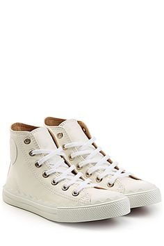 CHLOÉ  Leather Sneakers with Scalloped Trim   STYLEBOP.com