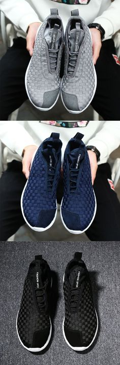 af65a9b9dc27 Men Weave Light Slip On Breathable Leisure Running Sport Casual Shoes Shoes  Sneakers