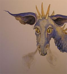 Painting for the poetry book still, Custard the Dragon, Illustrator Jackie Morris