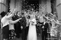 Enthusiastic confetti shot. Taken by Mark Huntley Wedding Photography www.markhuntley.co.uk #Eastbourne #EastSussex