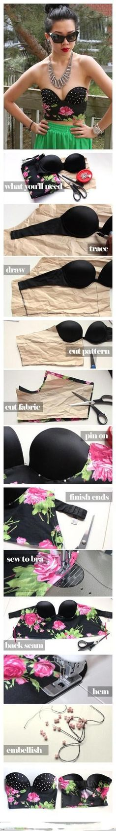 DIY Fashion Idea With Bra - diy clothes Recycling Ideen Diy Bralette, Bralette Tops, Diy Clothing, Sewing Clothes, Sewing Tutorials, Sewing Hacks, Sewing Ideas, Sewing Crafts, Old Bras