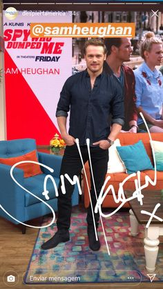 *New* MQ Pics of Sam Heughan on Despierta América Sam Heughan Movies, Sam Heughan Actor, James Fraser Outlander, Serie Outlander, Sam Heughan Caitriona Balfe, Sam Heughan Outlander, Sam Heugan, Sam And Cait, Claire Fraser