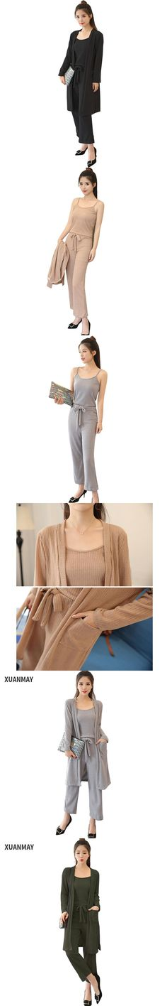 2017  Cardigan Sweater coat 3 Piece set women pant and top fashion Sexy Spring fashion women set High quality Suits for women