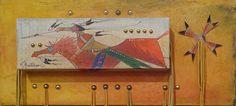 Original Ledger Art by Don Montileaux: Flying Hawk