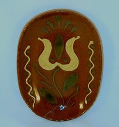 2011 Breininger Glazed Redware Slip Decorated Miniature Loaf Plate Tulip Flower | eBay