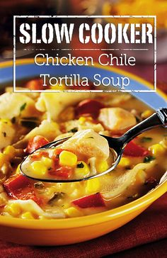 Slow Cooker Chicken Chile Tortilla Soup Recipe - Spice up your day with a bowl of this warm and wonderful soup that slow cooks for hours to blend many favorite Southwestern ingredients.