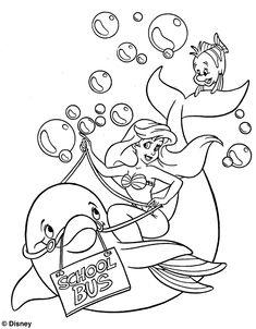 kleurplaat De kleine zeemeermin - Ariel naar school