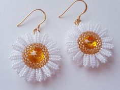 Swarovski rivoli and seed beads Chamomile earrings