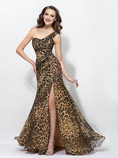 Sexy Leopard Print Split-Front One-shoulder Sweep/Brush Floor-Length Evening Dress Popular Prom Dresses- ericdress.com 10905064