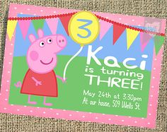 Personalized Colorful Pink Polk-a-dot  Peppa Pig Balloon Birthday Party Invitation Printable YOU PRINT Digital