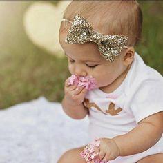 Glittery Bow Headband , Gold Headband, Birthday, cake smash, 1st birthday, baby girl birthday, birthday, bride, wedding, Bachelorette by Kutiebowtuties on Etsy