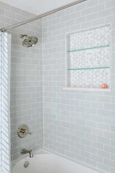 Shower with Gray Subway Tiles, Transitional, Bathroom