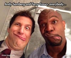 Smiling for the picture…Andy Samberg Terry Crews. Brooklyn Nine Nine. Love that show!