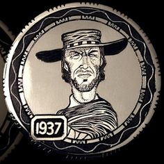 ANDY GONZALES HOBO NICKEL - CLINT EASTWOOD - 1937 BUFFALO NICKEL Hobo Nickel, Coin Art, Coin Values, Antique Coins, Dollar Coin, Clint Eastwood, Coin Collecting, Gold Coins, Types Of Art