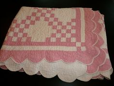 Quilt Handmade Vintage Cottage Chic Double Irish Chain Pink White Queen Quilt Handstitched Farmhouse Shabby Cottage Chic. $235.00, via Etsy.