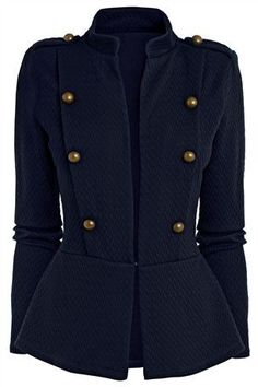 Ladies Long Military Style Coat | Down Coat