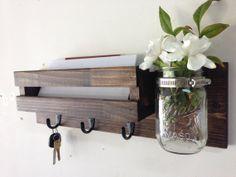 Rustic mail organizer key rack with mason jar, wall mail sorter and key holder, mail holder, entryway organizer, mason jar vase